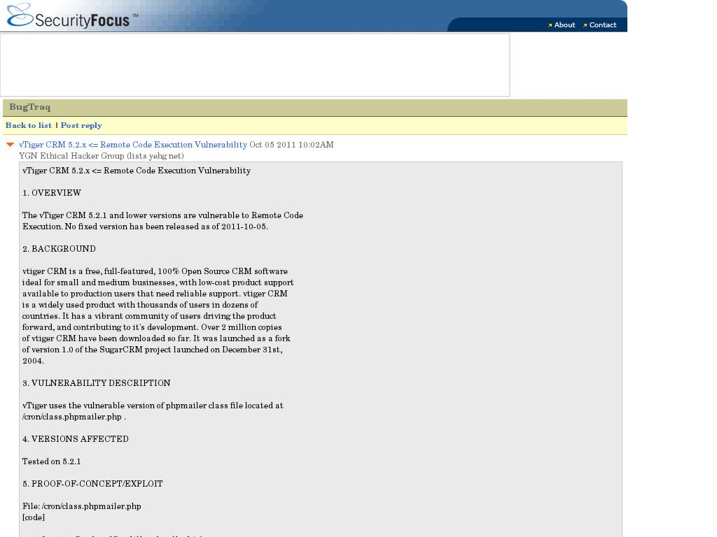 SecurityFocus Vuln :: Bugtraq: vTiger CRM 5 2 x <= Remote