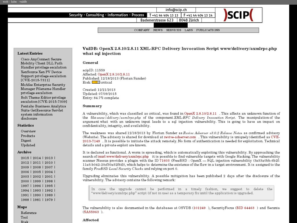scip.ch :: OpenX 2.8.11 XML-RPC Delivery Invocation Script www ...