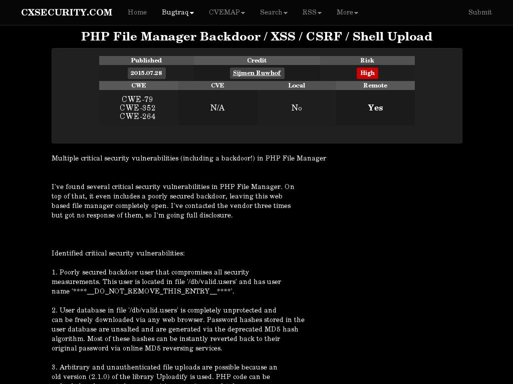 cxsecurity com :: PHP File Manager Backdoor / XSS / CSRF