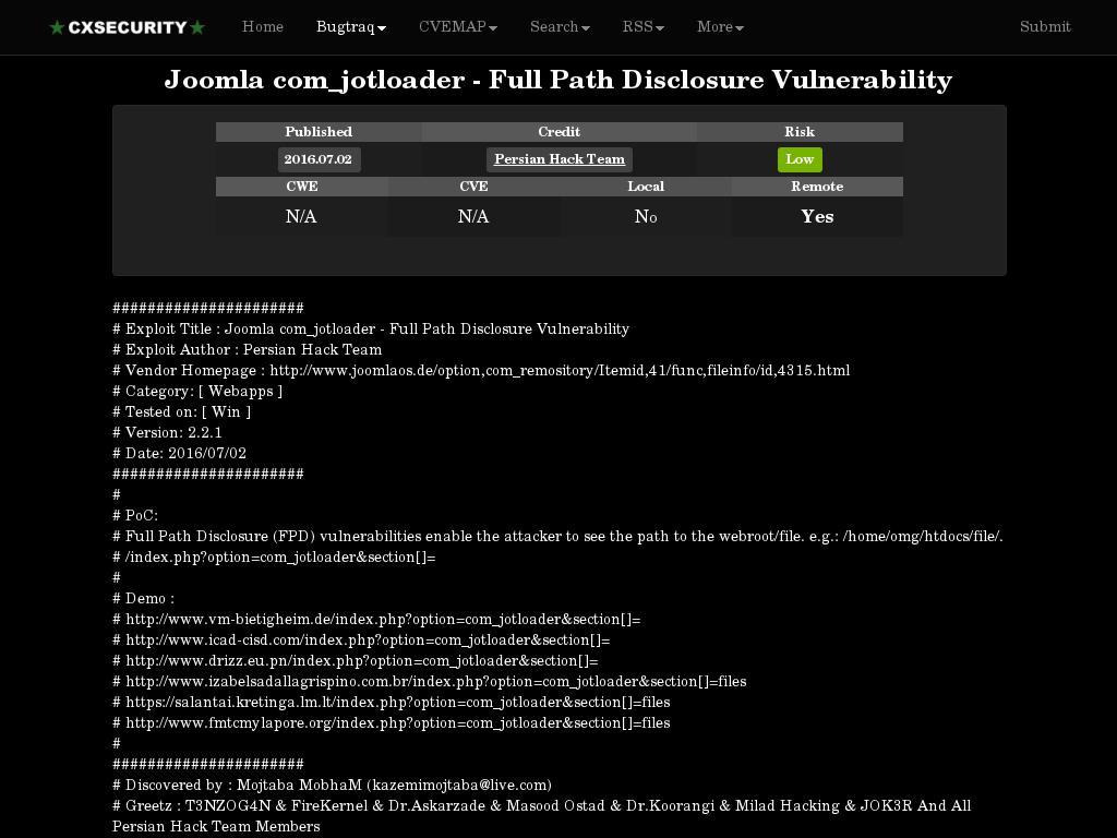 cxsecurity com :: Joomla com_jotloader - Full Path