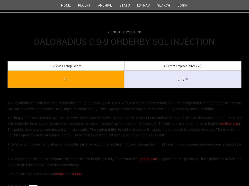 scip ch :: daloRADIUS 0 9-9 orderBy sql injection