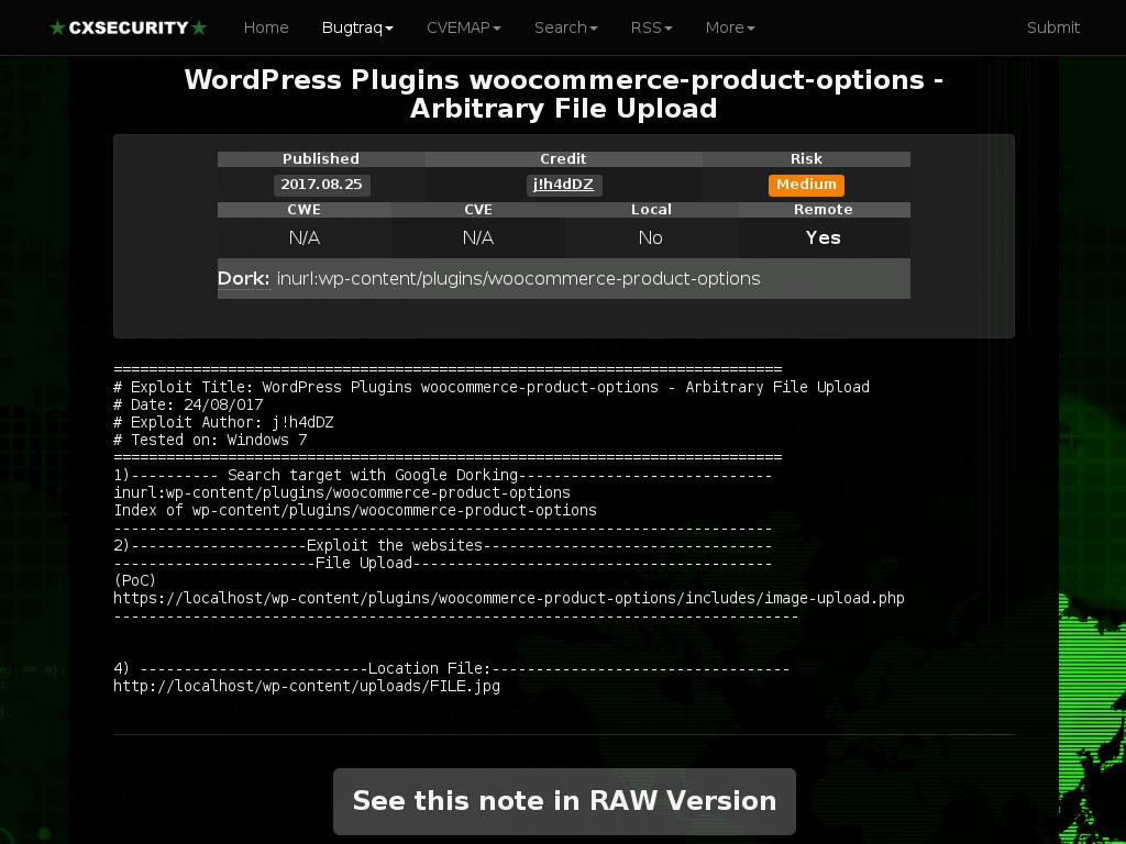 cxsecurity.com :: WordPress Plugins woocommerce-product-options ...