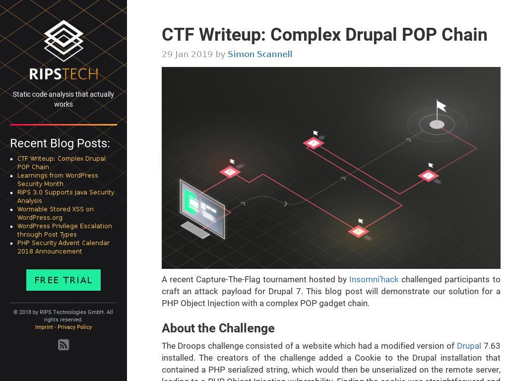 RipsTech :: CTF Writeup: Complex Drupal POP Chain