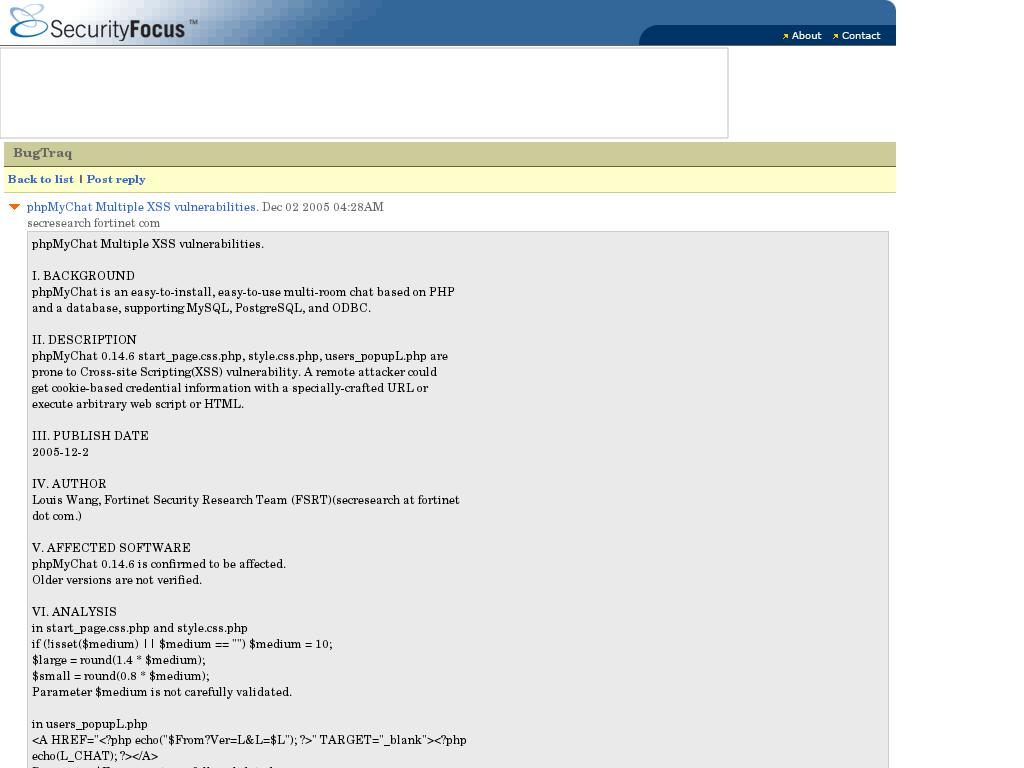 SecurityFocus Vuln :: Bugtraq: phpMyChat Multiple XSS vulnerabilities